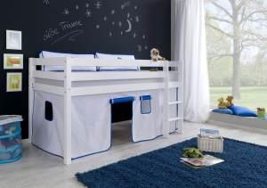 Halbhohes Spielbett ALEX Buche massiv weiß lackiert mit Stoffset Vorhang