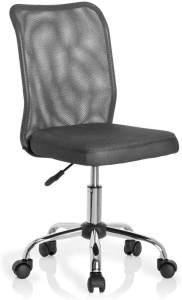 hjh OFFICE 685973 Kinder-Drehstuhl KIDDY NET Stoff/Netz Grau Kinderschreibtischstuhl mitwachsend, ohne Armlehnen