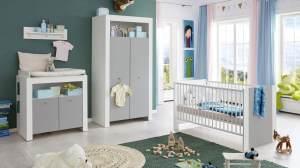 Trendteam Babyzimmer Set PASI 4-tlg. Kinderzimmer in weiß und grau