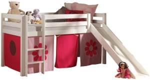 Pino Spielbett Weiß lackiert 90x200 cm Rosa-Flower Soft