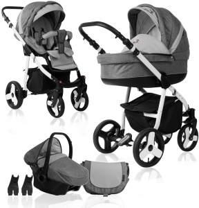 Bebebi Fizzy | Luftreifen in Weiß | 3 in 1 Kombi Kinderwagen | Farbe: Stone