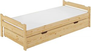 Erst-Holz Einzelbett Kiefer 90x200 cm inkl. Bettkasten, natur