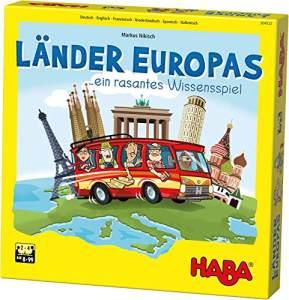 HABA 304532 - Länder Europas, spannende Europareise für die ganze Familie, Wissensspiel für 2-4 Spieler von 8-99 Jahren