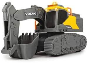 Dickie Toys Volvo Kettenbagger, Schaufelbagger, Bagger, Spielzeug Bagger, Sandkasten, Baustellenfahrzeug, Baustelle, Schaufel, Licht & Sound, inkl. Batterien, 23 cm groß, gelb/grau