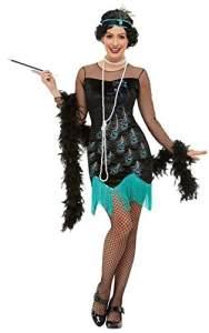 Smiffys 47780S 20er Pfauenflapper-Kostüm, Damen, Grün & Blau, S – Größe 08-10