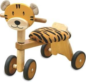 Bartl 109737 'Rutscher Tiger aus Holz mit Plüschkissen' ab 12 Monaten, Tiger-Print