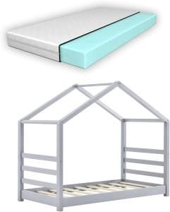 en.casa Hausbett 70x140cm Grau, inkl. Lattenrost und Matratze