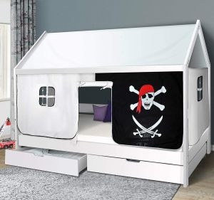 Homeline Hausbett weiß, 90 x 200 cm, inkl. Vorhang 'Pirat', Roll-Lattenrost und Schubladen