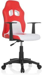 hjh OFFICE 670760 Kinder- und Jugenddrehstuhl Teen RAYCER AL Kunstleder Rot/Weiß Schreibtischstuhl höhenverstellbar