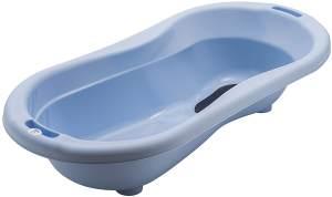 Rotho Babydesign TOP Xtra Große Badewanne, Mit 2 Antirutschmatten und Ablaufstöpsel, Ideal für 2 Kinder, 0-36 Monate, Sky Blue (Hellblau), 20500 0289
