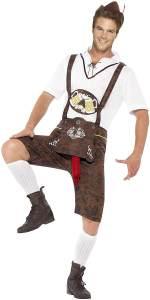 Smiffys Herren Bratwurst Kostüm, Lederhose, Hemd und Hut, Größe: L, 43399