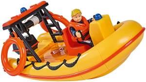 Simba 109251047 - Feuerwehrmann Sam Neptune Boot, mit Penny Figur im Tauchoutfit, mit Geheimfach und mechanischer Seilwinde, schwimmt auf dem Wasser, 20cm, für Kinder ab 3 Jahren