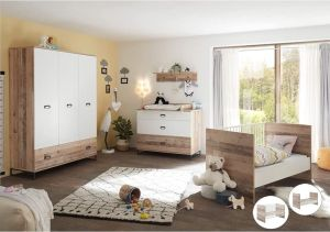Lomado Komplettset Babyzimmer 5tlg. ROANNE-78 in Eiche Old Style hell / weiß