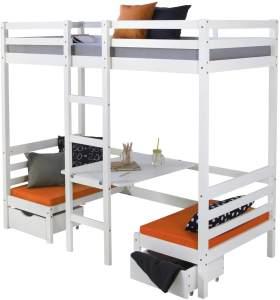 Kinderbett Hochbett 90x200 weiß Schreibtisch Etagenbett + Sitzkissen orange