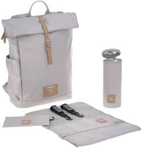 LÄSSIG Baby Wickelrucksack mit Wickelunterlage, Kinderwagenbefestigung, Flaschenwärmer wasserabweisend nachhaltig produziert/Rolltop Backpack grey