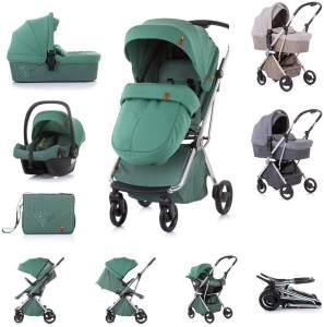 Chipolino Kombikinderwagen Piruet 3in1 Babyschale Sitz 360° drehbar Tragetasche grün