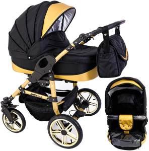 Tabbi ECO X GOLD | 2 in 1 Kombi Kinderwagen | Luftreifen | Farbe: Black