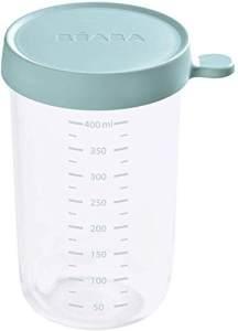 Béaba – Glas-Aufbewahrungsbehälter für Babynahrung – mit Skalierung – Temperaturbeständig – Aufbewahrungsbehälter für Babys und Kleinkinder – 400 ml – Hergestellt in Frankreich von Béaba – eisgrün