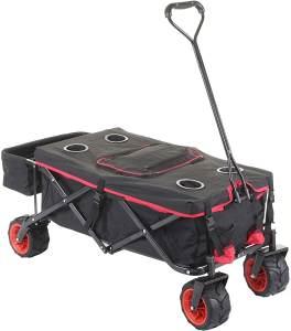 Faltbarer Bollerwagen HWC-E62, Handwagen, Geländereifen klappbar ~ mit Hecktasche/Abdeckung + Kühltasche schwarz/rot