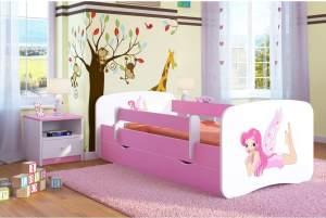 Kocot Kids 'Fee mit Flügeln' Einzelbett pink/weiß 80x160 cm inkl. Rausfallschutz, Matratze, Schublade und Lattenrost