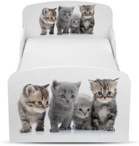 Leomark Kinderbett 70x140 cm, Kätzchen, mit Matratze und Lattenrost
