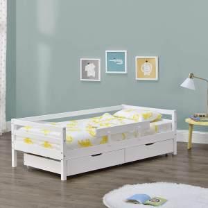 en.casa Kinderbett aus Kiefernholz mit 2 Bettkasten, Rausfallschutz und Lattenrost, 200x90 cm, weiß