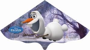 Paul Günther 1221 - Kinderdrachen mit Disney Frozen Olaf Motiv, Einleinerdrachen aus robuster PE-Folie für Kinder ab 4 Jahre mit Wickelgriff und Schnur, ca. 115 x 63 cm groß