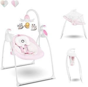 Lionelo Robin Baby Wippe, Babyschaukel Elektrisch mit Liegefunktion, Baby Schaukel 0-9kg, Moskitonetz, 12 Melodien (Rosa)