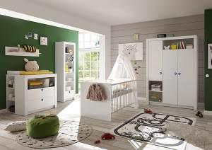 Babyzimmer-Set Paula 4tlg Wickelkommode Babybett Kleiderschrank 3türig Regal weiß