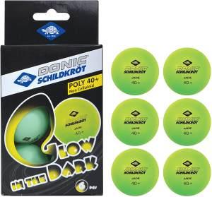 Donic Schildkröt Tischtennisbälle - Glow in the dark - 6er Pack