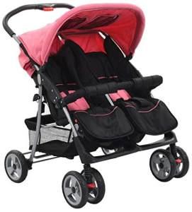 vidaXL Baby Zwillingswagen Rosa und Schwarz Stahl