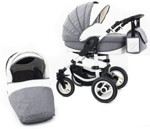 Tabbi ECO LN | 2 in 1 Kombi Kinderwagen | Hartgummireifen | Farbe: Grey