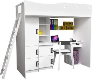 Mirjan24 Jugendbett mit Schreibtisch Nicola, weiß / weiß + grau