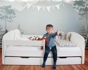 Alcube 'Milo' Kinderbett 80x160 cm, Weiß, mit Matratze, Rausfallschutz, Schublade und Lattenrost