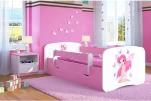 Kocot Kids 'Fee mit Schmetterlingen' Einzelbett pink 70x140 cm inkl. Rausfallschutz, Matratze, Schublade und Lattenrost