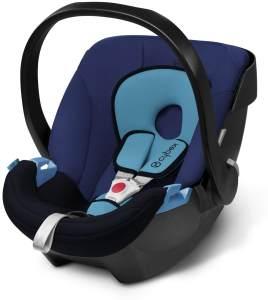 CYBEX Silver Babyschale Aton, Inkl. Neugeboreneneinlage, Ab Geburt bis ca. 18 Monate, Max. 13 kg, Blue Moon