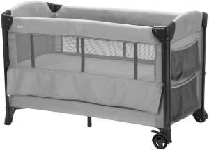 Fillikid Reisebett, grau, 3-fach höhenverstellbar, mit Rollen, Einlegeboden und Transporttasche