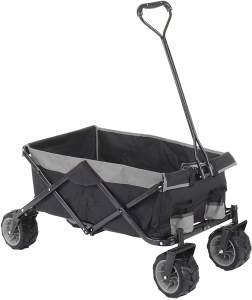 Faltbarer Bollerwagen HWC-E62, Handwagen, Geländereifen klappbar ~ ohne Hecktasche/Abdeckung schwarz/grau