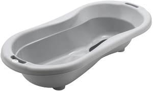 Rotho Babydesign TOP Xtra Große Badewanne, Mit 2 Antirutschmatten und Ablaufstöpsel, Ideal für 2 Kinder, 0-36 Monate, Stone Grey (Grau), 20500 0286