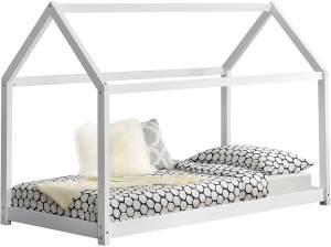 en.casa Hausbett aus Kiefernholz 70x140 cm inkl. Lattenrost, weiß