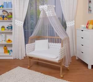 WALDIN Beistellbett mit Matratze und Nestchen, höhenverstellbar, Ausstattung weiß/Sterne-grau, Gestell Natur unbehandelt