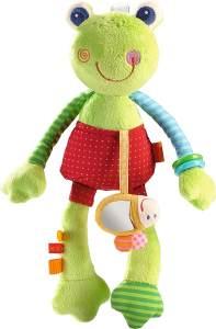 HABA 302836 - Spielfigur Regenbogenfrosch | Kuscheltier mit Bienchen und vielen Spieleffekten | Baby- Spielzeug ab 6 Monaten