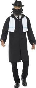 Smiffys Herren Rabbiner Kostüm, Jacke, Schal, Hut und Bart, Größe: L, 44689