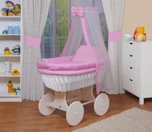 WALDIN Baby Stubenwagen-Set mit Ausstattung, Gestell/Räder weiß lackiert, Ausstattung rosa kariert