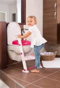 Rotho Babydesign KidsKit 3-in-1 Toilettentrainer, Ab 18-36 Monate, Aufbau-Maße zusammengeklappt: 41,5 x 25 x 67 cm (LxBxH), Rosa/Weiß, 600060257