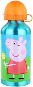 POS 30714 - Trinkflasche mit Peppa Wutz Motiv, aus Aluminium, bpa- und phthalatfrei, Fassungsvermögen ca. 400 ml, ideal für Unterwegs, Kindergarten und Sport, für Jungen und Mädchen