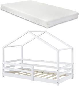 en. casa 'Knätten' Kinderbett, 90 x 200 cm, weiß, Kiefernholz, inkl. Matratze und Rausfallschutz