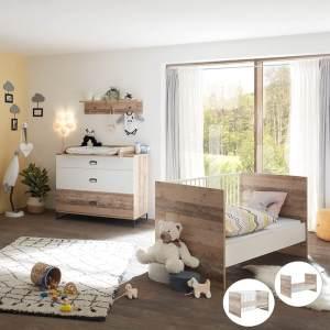 Lomado Babyzimmer Set 4tlg. mit Umbaufunktion zum Juniorbett ROANNE-78 in Eiche Old Style hell / weiß