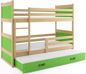Interbeds 'RICO 3' Etagenbett natur/grün 80x160cm