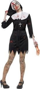 Halloween! Smiffys Schwester Zombie Kostüm, Schwarz, Kleid, Kopfbedeckung, Gürtel & Kreuzanhänger